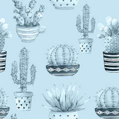 seamless pattern with cacti, watercolor illustration of potted plants