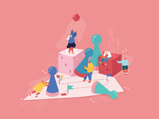 Strategic planning, Teamwork concept. People characters playing board game, throwing the dice. Business risk and gambling concept. Winning Male and Female Illustration. Cartoon vector
