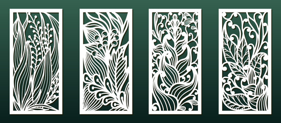 Laser cutting templates with floral pattern, vector set for card or panel decor