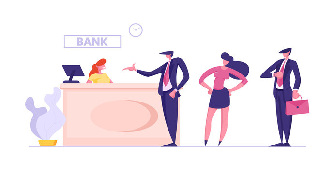 Visitors and Employees in Bank Office. Public Access to Financial Services. Interior with Woman Worker Sitting at Counter Desk and Clients Waiting Consulting in Queue Cartoon Flat Vector Illustration
