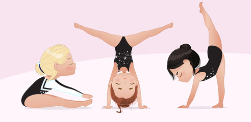 Gymnastics for kids. groupe of girls do gymnast and stretching exercises. Stretching and yoga pose training. Flexible gymnastics girls vector illustration isolated on white background. Beautiful