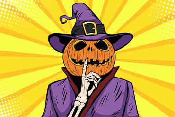 Halloween pumpkin character make silence gesture. Comic cartoon pop art retro holiday party vector illustration