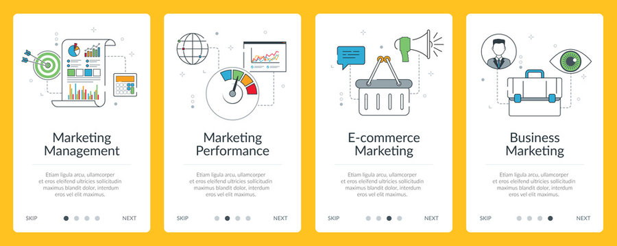 Marketing, performance and business communication internet banner.