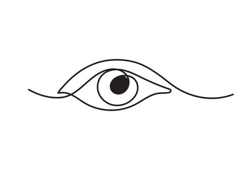 Single continuous one line art female watch eye.