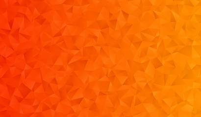 Low Poly Orange Gradient Vector Background with 3D Triangle Pattern. Halloween, Autumn Backdrop. Crystal Geometric Faceted Texture for Social Media, Web, Screen, Mobile Interfaces or Print Design