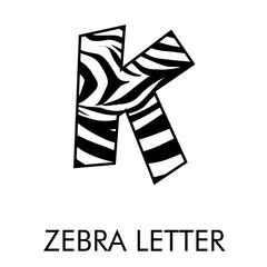 Obraz Logotipo letra K con patrón de piel de cebra en blanco y negro - fototapety do salonu