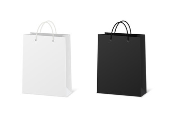 Blank shopping paper bags mockup. Empty cardboard packets on white background.