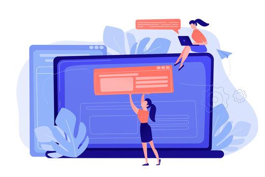 A girl makes a post on big laptop. Bloger is shareing information in weblog, online journal or informational website. Bloging and personal web log concept. Violet palette. Living coral blue vector