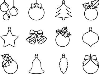 Set of Christmas balls icon. Line art. Stock vector.
