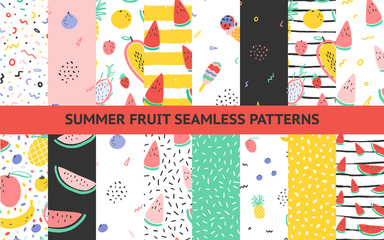 Custom blinds with your photo Vector tropical fruit background collection set with pineapple, mango, watermelon, dragon fruit, Pitaya, banana, papaya. Summer exotic fruit seamless pattern with memphis style elements