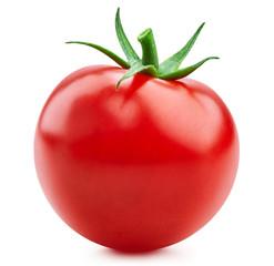 Fototapeta Tomato vegetables isolated on white. Fresh tomato fruit Clipping Path. Tomato macro photo obraz