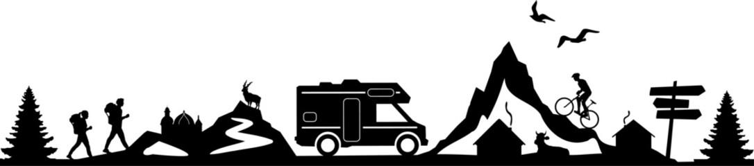 Camper Van Mountain Landsape Silhouette