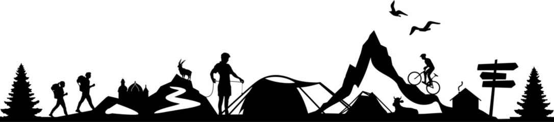 Activ People Nature Skyline Silhouette Vector