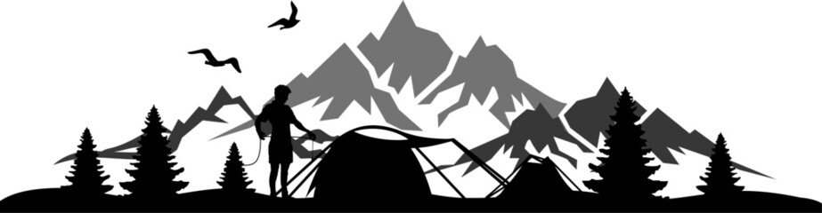Camping Nature Skyline Silhouette Vector