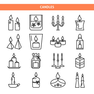 Candle icons set in thin line style
