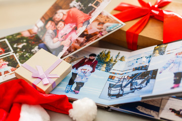 Christmas photo book, gifts on the table