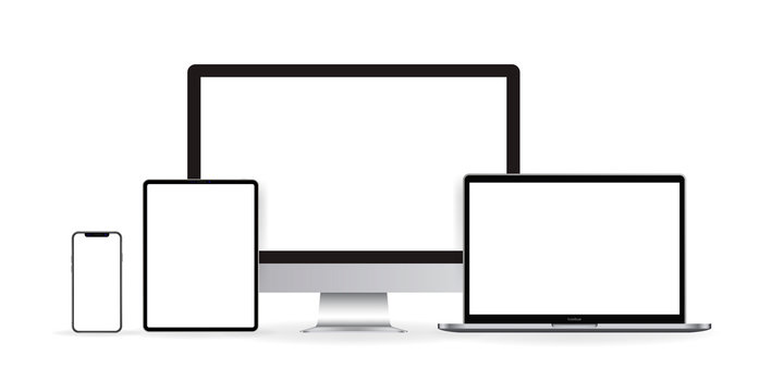Mockup realistic device. Set of laptop, tablet, computer and phone. Vector illustration