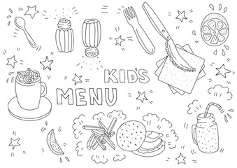 Black and white illustration for kids menu with burger, french fries, lemon, cocoa, smoothies in doodle style. Page of a children's coloring book. Blank A3 horizontal format