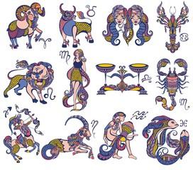 Set of zodiac signs icons. Aries, leo, gemini, taurus, scorpio, aquarius, pisces, sagittarius, libra, virgo, capricorn and cancer.