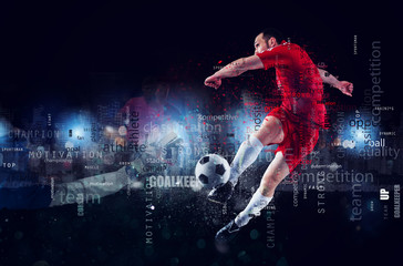 Football scene of a soccer player in action. Text effect in overlay with the most used terms. Abstract background