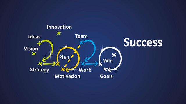 Success 2020 word cloud arrows blue background vector