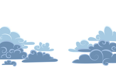 Funny curly clouds drawing. Vector cartoon illustration. Clipart