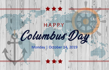 Happy Columbus Day Sailing ship floating on the sea waves lettering with rays bright color vector engraving illustration blue background sunny day beach sea ocean
