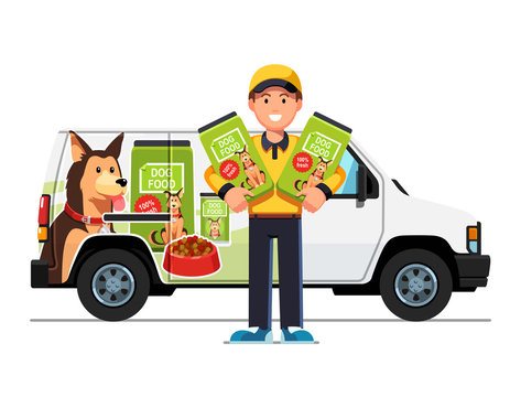 Courier man delivering dog food and holding bags