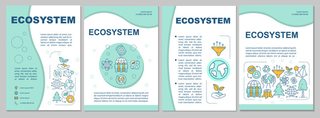 Obraz Ecosystem brochure template. Flyer, booklet, leaflet print, cover design with linear illustrations. Environmental conservation. Vector page layouts for magazines, annual reports, advertising posters - fototapety do salonu