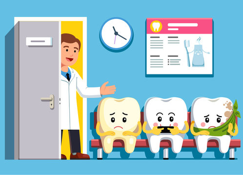 Cartoon teeth sitting in line at dental clinic