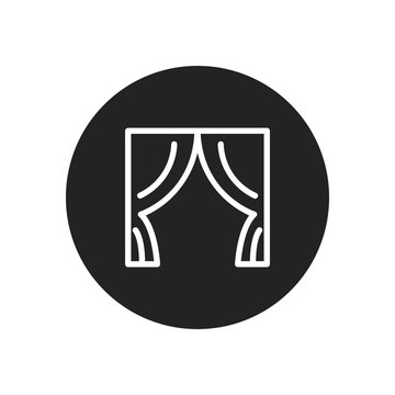 Curtains vector icon in modern design style for web site and mobile app