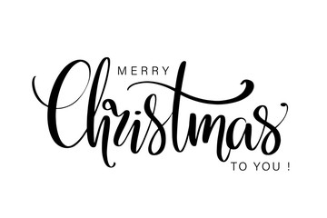 Merry Christmas to you hand lettering isolated on white. Vector image.