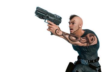 spy cartoon pointing the gun up