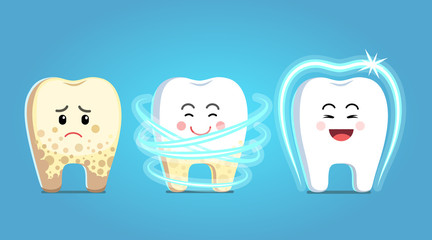 Upset tooth character with plaque gets treatment