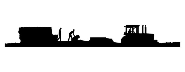 EPS8 Vector. Black and white Silhouettes of a tractor pulling a baler and wagon in a field of straw or hay with two men working on the wagon.  One with a drop shadow and one without.