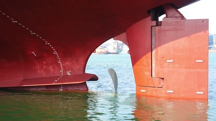 Wall Mural - The rudder of a large ship and jack up rigs in the shipyard for repair