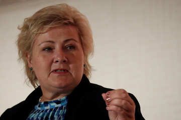 Norway's Prime Minister Erna Solberg speaks during an Emergency Declaration for Nature and People event after the 2019 United Nations Climate Action Summit at the U.N. headquarters in New York City