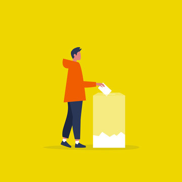 Transparent voting, conceptual illustration. Young male character participating in elections / flat editable vector illustration, clip art