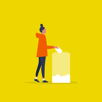 Transparent voting, conceptual illustration. Young female character participating in elections / flat editable vector illustration, clip art