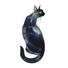 Back view of sitting black cat wet watercolor on paper soft primitive illustration art