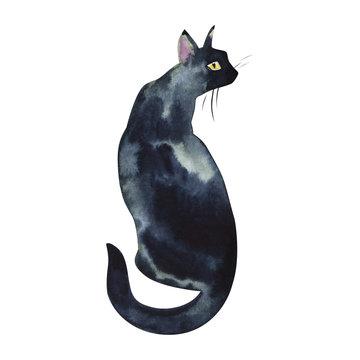 Back view of sitting black cat wet watercolor on paper soft primitive illustration art