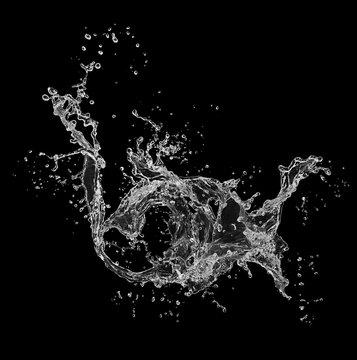 Fresh water splash isolated on black background