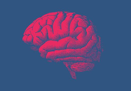 Red engraving human brain on dark blue BG