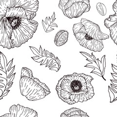 Vector seamless pattern with compositions of hand drawn leaves, flowers black poppys. Beautiful black and white endless background.