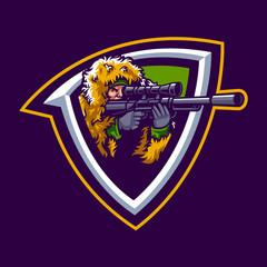 Vector illustration of sniper mascot