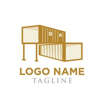 Container creative house logo design