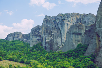 City Meteora, Greek Republic. Big mountains and places of worship and shrines. 12. Sep. 2019. Travel photo. Wall mural