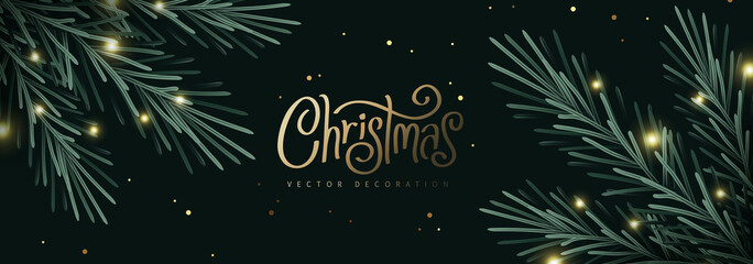 Fototapete - Merry Christmas and Happy New Year Background sparkle blur bokeh effect and and Christmas Tree Branches decoration.Merry Christmas vector text Calligraphic Lettering Vector illustration.