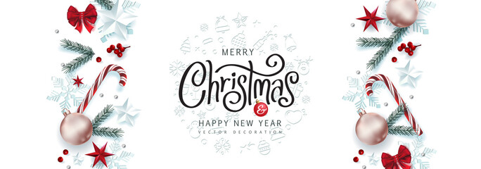Fototapete - Christmas Decorative Border made of Festive Elements Background .Merry Christmas vector text Calligraphic Lettering Vector illustration.