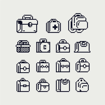 Bags set, backpack, first aid kit, backpack, retro suitcase, basket pixel art shopping icon. Isolated on white background vector illustration. Design for stickers, mobile app, web and logo. 1 bit.